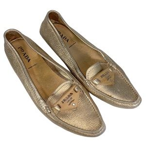 Prada Rare Vintage Gold Leather Loafers Size 7.5
